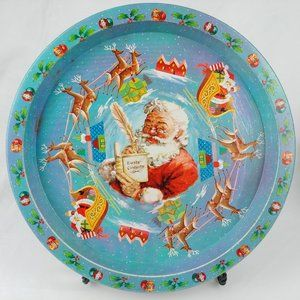 Vtg Santa Claus Cookie Tray Daher Made in England